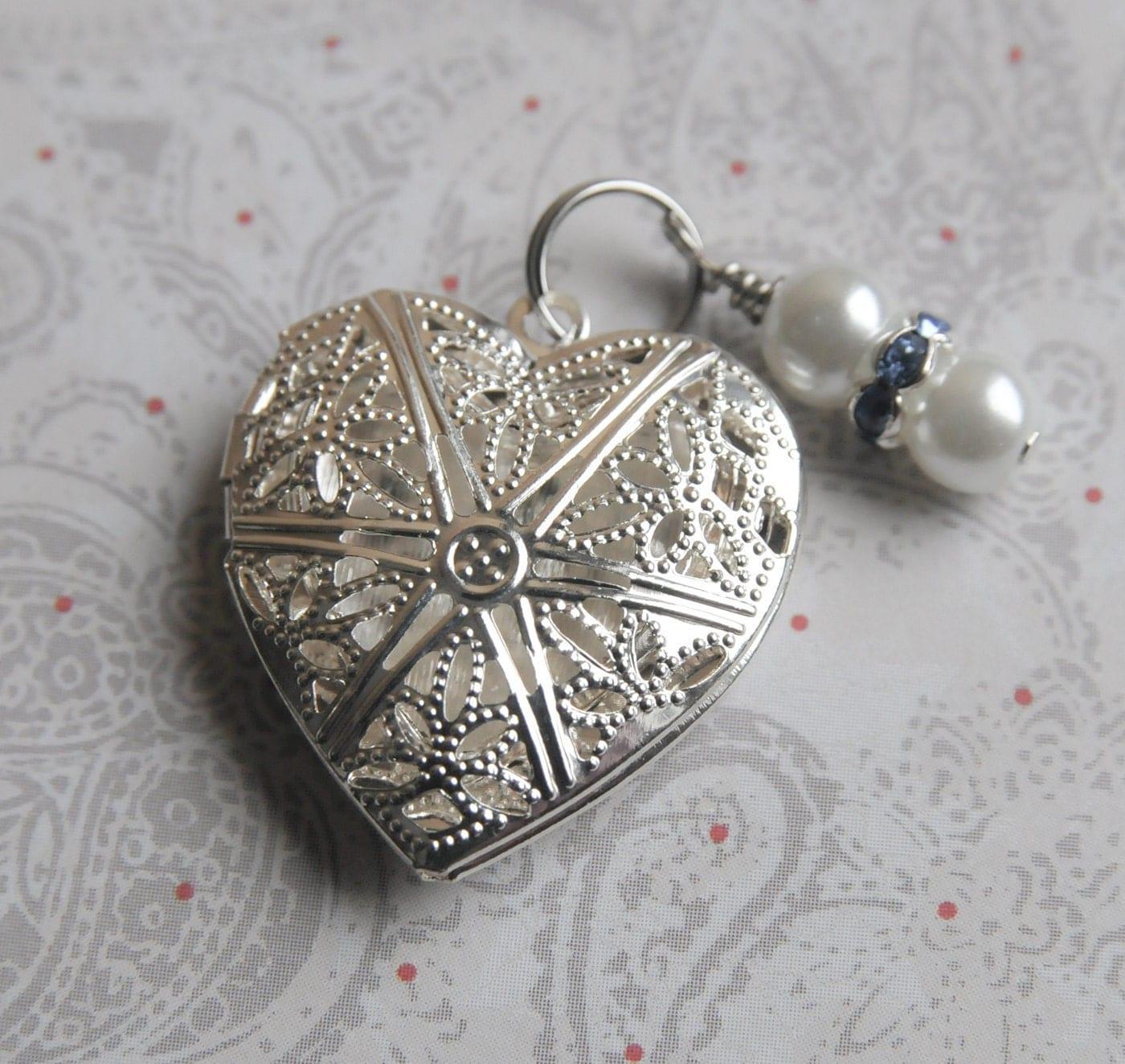 Bridal Bouquet Locket Charm : Something blue bouquet charm heart locket wedding