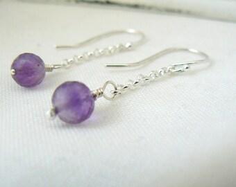 Sterling silver and Amethysts Earrings 925 chain long women earrings - READY TO SHIP
