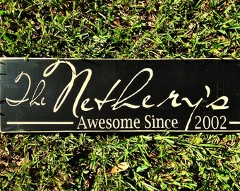 Custom LAST NAME Family Sign (Choose Color) 24x8 Wedding Anniversary Home Wall Decor Rustic Wood Plaque