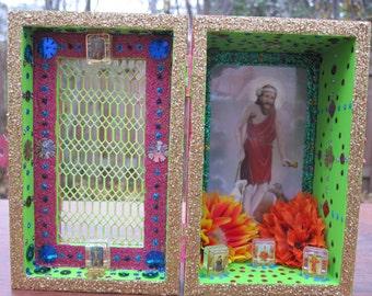 St. Lazarus nicho, Babalu Aye, Santeria shrine, shadow box, Catholic saint