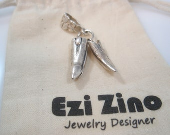 Original Ezi zino  alligator Crocodile teeth  Pendant Handmade solid Sterling Silver 925