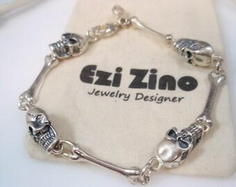 Ezi zino Bones and Skull sterling silver 925 unisex  Bracelet