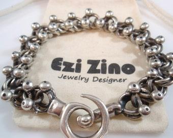 Ezi zino Jewelry Designer  Link Oxidized  Heavy Bracelet Black Diamonds 0.51 ct sterling silver 925 mans bracelet