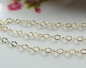 14K Gold Filled Small Hammered Cable Chain, 5 ft , 1.2x1.8mm