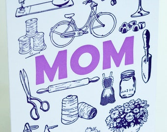 SALE - Letterpress Mother's Day Card - Mom Stuff - 60% off