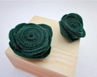Green Flower Clip Accessory -- Dark Green Flower -- Green Scarf Pin -- Dark Green Rose -- Green Fabric Brooch -- Forest Green Pin --Felt Pin