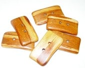 6 Handmade plum  wood  buttons, accessories(5,0 x 2,7 cm - 1,97 x 1,06 inches)
