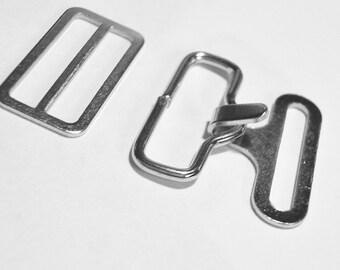 BOW TIE HARDWARE Bowtie Hardware 12 Sets Silver Nickel Adjustable Bowtie Necktie Clips Hardware Hook Eye Slide 3/4 Inch