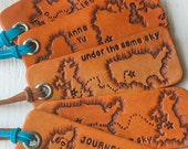 Journey leather luggage tag, key ring - any state or country shape - Heart Strings keychain - travel, long distance relationship - Gift Tag