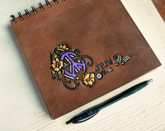 Floral Peace Symbol Sketchbook - Custom Text or Name - Hand Tooled Leather - Custom Color - Perfect Artist Gift