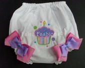 Custom Bloomers..CUPCAKE BLOOMERS, any color...cup cake...diaper cover..dress up..birthday bloomers, first birthday,party, princess