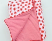 Baby/Toddler Bedding - Play Mat - Quilt - Cot Blanket - Comforter - Red Flowers + Stripes