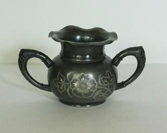 vintage worn silver plate sugar bowl