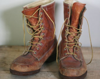 vintage john roberts outdoorsman hunting or work boots size 8EE