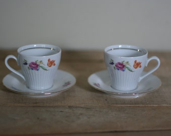 vintage demitasse cups and saucers set of two henneberg made in germany