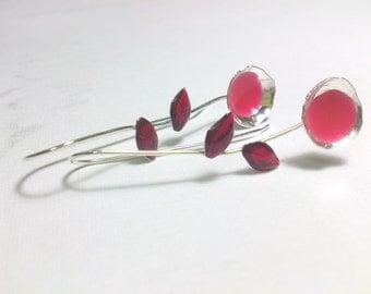 Flowers Earrings Pink Earrings Sterling Silver Earrings and Resin