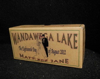 Wedding at the Lake customized fishing lure box gifts and reception decorations. Greenweddingshoes
