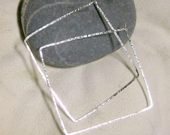 Sterling Silver Extra Large Squared Hoop Earrings, hammered hoop earrings