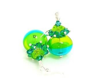 Teal Lime Green Earrings, Hollow Glass Earrings, Cluster Earrings, Lampwork Earrings, Glass Earrings, Blown Glass Earrings, Beadwork Earring