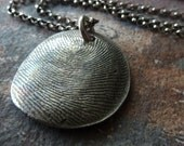 Fingerprint Jewelry. Personalized Silver Fingerprint Necklace. Fine Silver Heirloom Thumbprint Pendant.