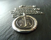 Personalized Letter Necklace. Fine Silver monogram Personalized Wax Seal Jewelry. Gift for Her