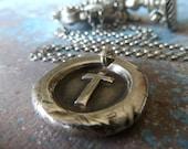 Silver Cross Wax Seal Necklace. Fine Silver Christian Pendant. Handmade Wax Seal Jewelry