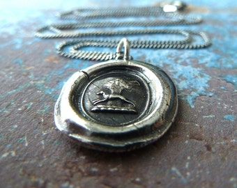 Greyhound, Whippet Wax Seal Necklace. Fine Silver Jewelry Handmade from Antique Wax Seals.