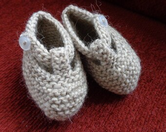 Hand knit tan baby booties in a lovely soft Natural Organic Wool