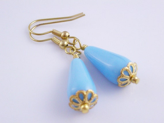 Turquoise Tropical Sky Baby Blue Dangle with Gold sunflower Bead Caps