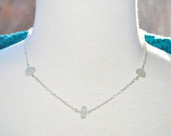 Sea Glass Jewelry Beach Eternity Necklace in Light Grey 16 Inch 7766