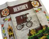 Vintage 1970s Novelty Print Souvenir Hershey Chocolate PA Kitchen Linen Hand Tea Towel Unused