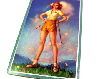 Authentic Vintage 1940s Pin Up Swap Card Advertising Playing Card Bow & Arrow Archer Girl