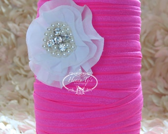 "5/8"" Shiny NEON PINK Fold Over Elastic Headband Elastic - 5 or 10 yds Solid FOE - Elastic Hair Ties Headband Supplies"