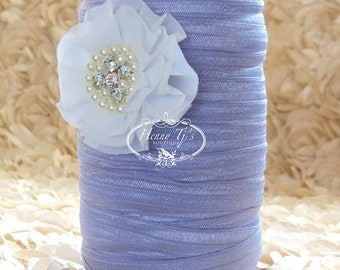 "5/8"" Shiny ORCHID / LAVENDER Fold Over Elastic Headband Elastic - 5 or 10 yds Solid FOE - Elastic Hair Ties Headband Supplies"