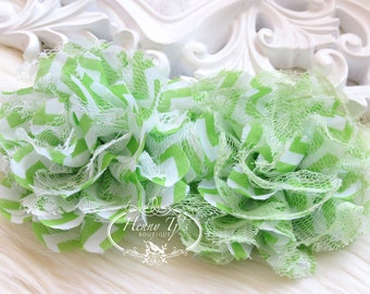 """NEW : 2 pieces 4"""" Shabby Chic Frayed Chiffon Mesh and Lace Rose Fabric Flower - Fluffy and Fully LIME GREEN Chevron  w/ white and Lime lace"""