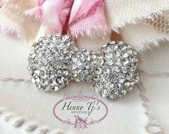 33mm Nickel Metal Plated BOW KNOT Shape Rhinestone Buttons flower Embellishments - wedding / hair / dress / garment accessories