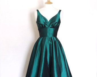 Size UK 20 Emerald Green Taffeta Sweetheart Tea Dress - Ready To Ship - Made by Dig For Victory