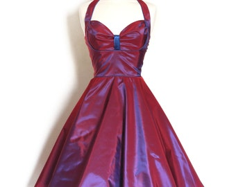 Magenta and Blue Two-tone Shot Vintage Taffeta Bustier Halterneck Dress - made by Dig For Victory