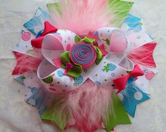 Sweet Shoppe bow Candy Shop Bow with Pink Marabou Feathers candy shop birthday bow sweet shoppe birthday bow sweet shop bow candy shoppe bow