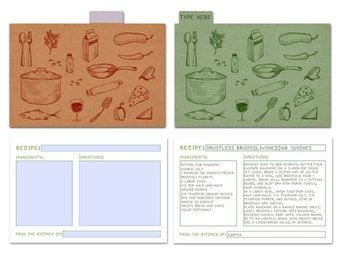 Printable Recipe Cards and Dividers, 4x6, Editable PDF, Instant Download