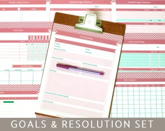 Goals Planner & New Year's Resolutions, 9 Printable Templates, Editable PDF Forms, A4 and Letter Size,  Instant Download