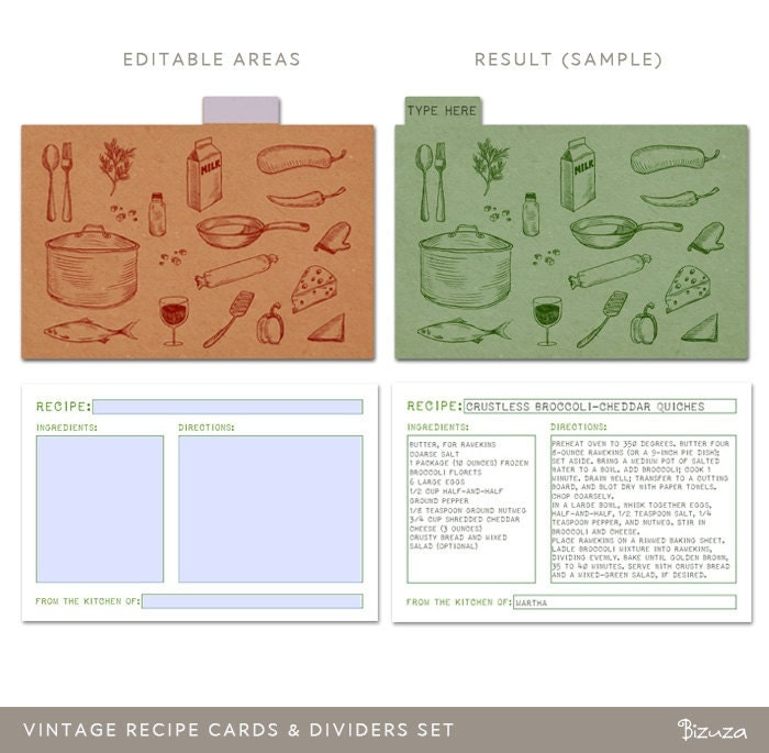 Printable Recipe Cards and Dividers 4x6 Editable PDF