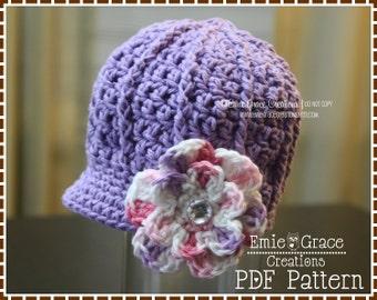 Newsboy Hat Crochet Pattern, 8 Sizes from Newborn to Adult, EMILY - pdf 208