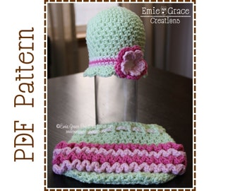 Flower Hat and Ruffle Diaper Cover Crochet Patterns, EMERSYN and KENNEDY - pdf 225, 710