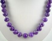 Purple Crazy Lace Agate Necklace Purple Gemstone Necklace Purple Agate Necklace Purple Beaded Necklace Purple Agate Strand
