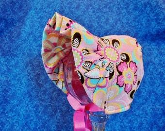 Winter Baby Bonnet Pink Corduroy with Fleece