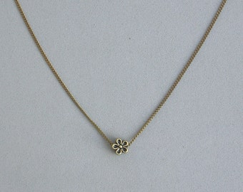 Antique Brass Flower Bead Necklace