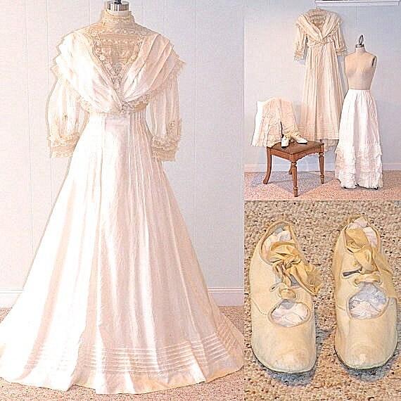 Edwardian Wedding Gowns: Edwardian Wedding Dress Trousseau Antique Silk And Lace