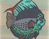 Original Colorful Coral Reef  Fish Acrylic Painting on Poplar Wood