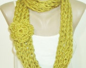 Green INFINITY SCARF KNIT for Women in Olive Green hand knitted Gifts for Womens gift under 25 dollar